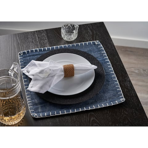 """Dusty Blue Embroidered Edge Square Place Mat - 1'3"""" x 1'3"""""""