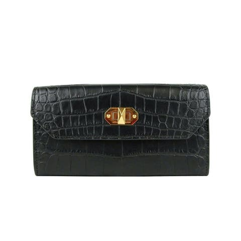 Alexander McQueen Women's Black Embossed Leather Continental Box Wallet 492594 - One Size