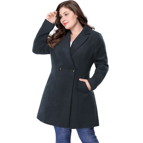 Women's Plus Size Long Sleeve Double-breasted Notched Lapel Coat