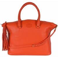 "Tory Burch 35605 Tiger Lily Orange Taylor Leather Satchel Purse Handbag - Tiger Lily - 12.75"" x 10.76"" x 5.18"""