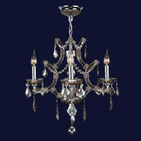 Worldwide Lighting W83115C19 Lyre 4-Light 1 Tier Candle Style Crystal Accent Chandelier - polished chrome/golden teak