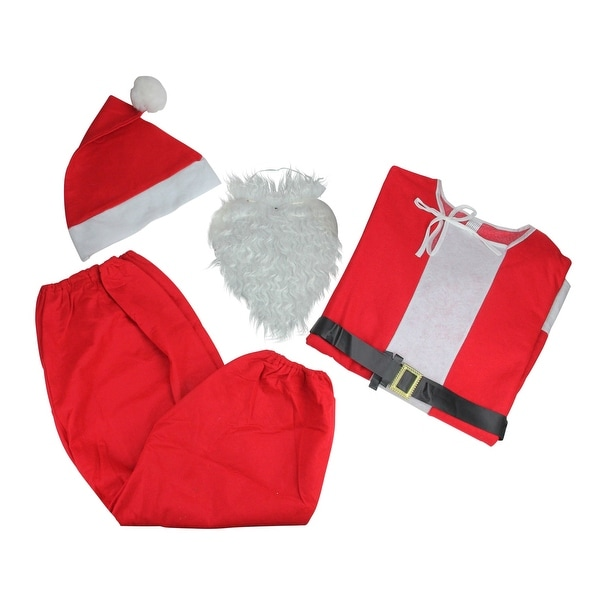 6-Piece Novelty Santa Claus Christmas Suit Costume - One Size Fits Most Adults - RED