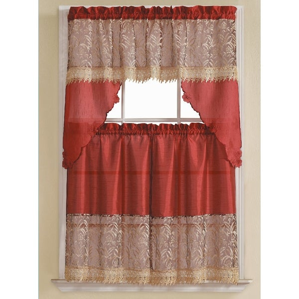 Orite 3 Piece Gold Embroidered Kitchen Curtain Set Burgundy Tiers 30x36 Swag 60x36 Inches Free Shipping On Orders Over 45 18893346