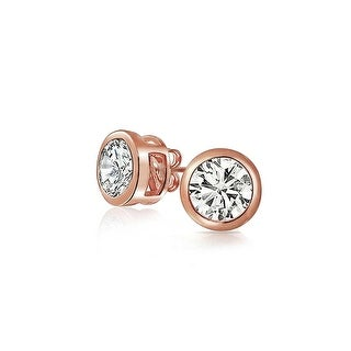 Bling Jewelry Bezel Set Round CZ Stud earrings Rose Gold Plated 5mm