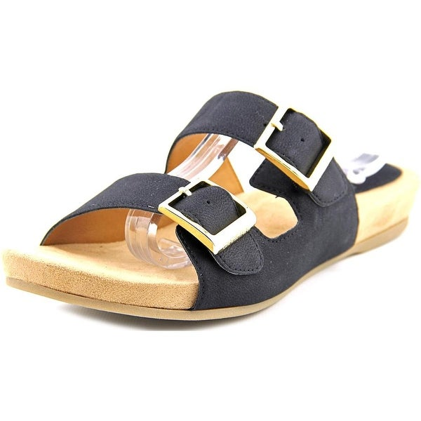 Giani Bernini Jijee Women Open Toe Leather Black Slides Sandal