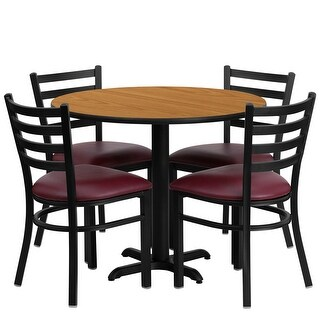 "Dyersburg 5pcs Table Set Round 36"" Natural X-Base, Burgundy Chair"