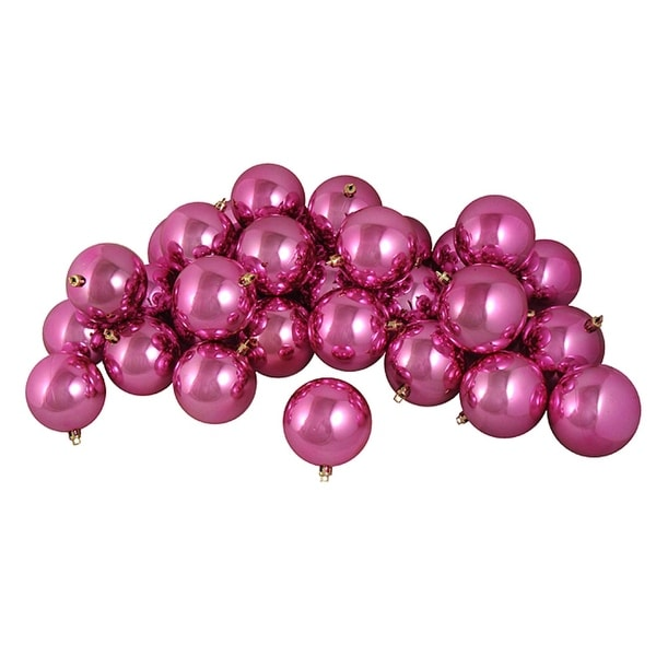 """12ct Shiny Pretty in Pink Shatterproof Christmas Ball Ornaments 4"""" (100mm)"""