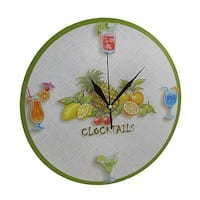 Round Tropical `Clocktails` Wall Clock 12 In.
