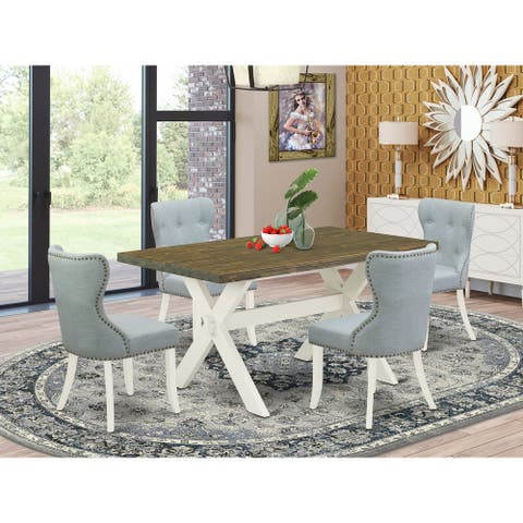 Modern Dining Table Set - Dining Chair with Baby Blue Linen Fabric and Button Tufted Back (Number of Chair and Bench Option)