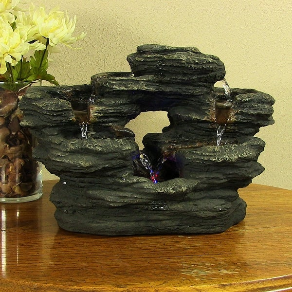 Sunnydaze 2-Stream Rock Tabletop Water Fountain with LED Lights - 15-Inch