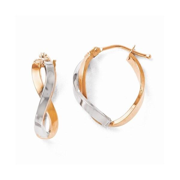 Italian 14k Rose Gold Two-Tone Polished Hinged Hoop Earrings
