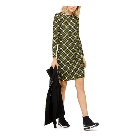 MICHAEL KORS Green Long Sleeve Knee Length Shift Dress Size S