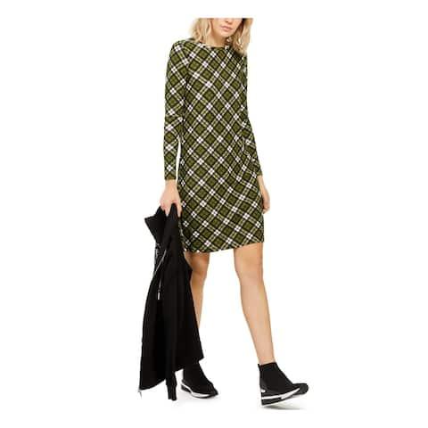 MICHAEL KORS Green Long Sleeve Knee Length Shift Dress Size XS