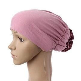 Muslim Scarf Kerchief Hat Flower Casual eraser pink