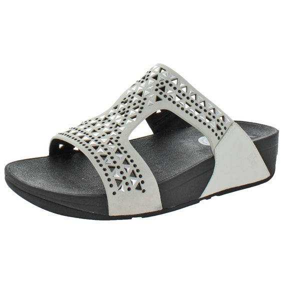 FitFlop Women's Carmel Leather Studded Slide Sandals