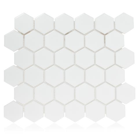 "Industry Tile 11.10x12.8 Hexagon 2"" White matte porcelain mosaic tile (10pcs/box)"