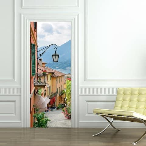Walplus Old Town Door Mural Peel and Stick Sticker Home Decor 35x79in