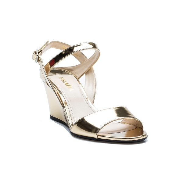 Prada Women's Open-Toed Gold Reflective Wedge Heeled Shoes