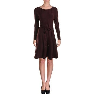 Jessica Howard Womens Petites Sweaterdress Pintuck Crew Neck