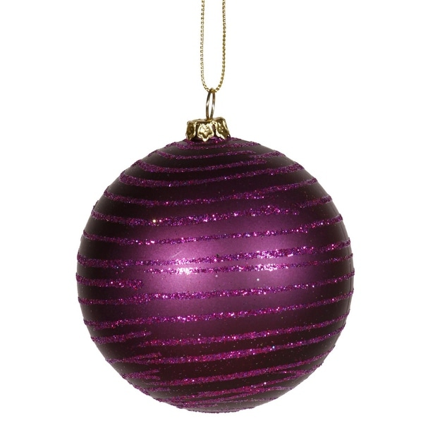 "Plum Purple Glitter Striped Shatterproof Christmas Ball Ornament 3"" (75mm)"