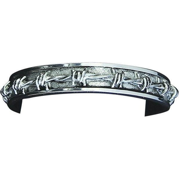Bar V Western Mens Bracelet Antiqued Cuff Barbed Wire Silver 314-232