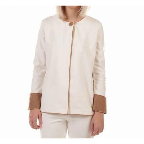 Trisha Tyler White Womens 2X Plus Contrast-Detail Flyaway Jacket