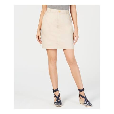 CHARTER CLUB Womens Beige Short A-Line Skirt Size 4