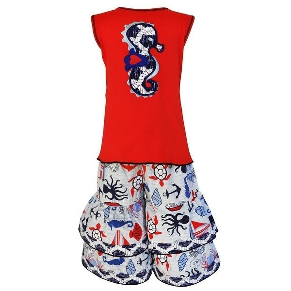 AnnLoren Baby Girls Red Navy Seahorse Sailor 2 Pc Pant Outfit