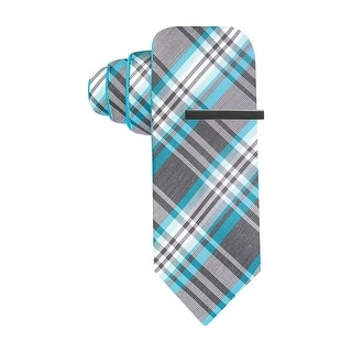 Alfani Red Label Plaid and Solid Reversible Skinny Tie Teal and Gray Necktie