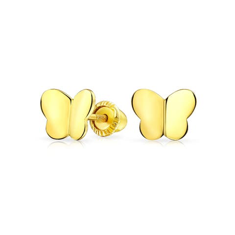 Tiny Minimalist Lucky Butterfly Stud Earrings For Women For Teen For Girlfriend Real 14K Yellow Gold Screwback