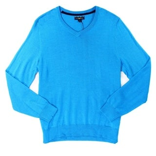 Club Room NEW Blue Mens Size Small S Pullover V-Neck Wool Knit Sweater