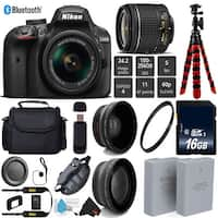 Nikon D3400 DSLR 24.2MP DX CMOS Camera AF-P 18-55mm VR Lens + LED Light kit + Wide Angle & Telephoto Lens - Bundle (Intl Model)