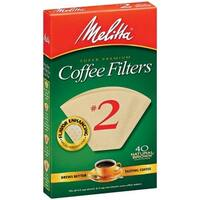 Melitta 612412 40 Count No. 2 Natural Brown Cone Coffee Filters