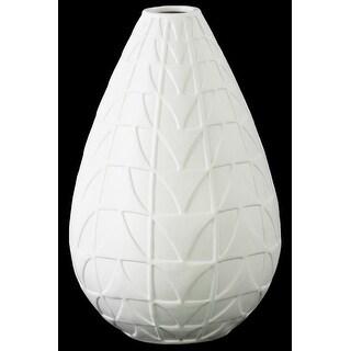Round Ceramic Vase With Embossed Triangle Design, Matte White
