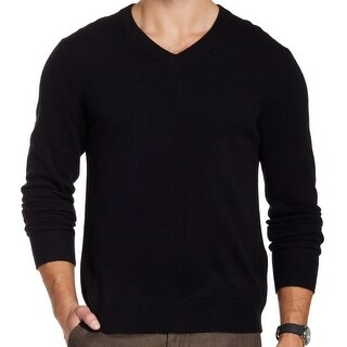 Qi NEW Black Deep Mens XL Ribbed-Trim V-Neck Long-Sleeve Sweater