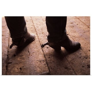 """Cowboy boots with spurs on boardwalk at Fairplay, Colorado"" Poster Print"