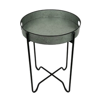 Rustic Galvanized Finish Metal Round Folding Tray Table