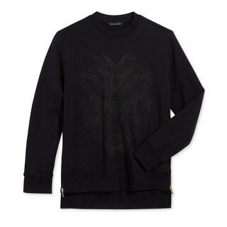 Sean John NEW Black Mens Size 3XL Studded Lion Side-Zip Crewneck Sweater