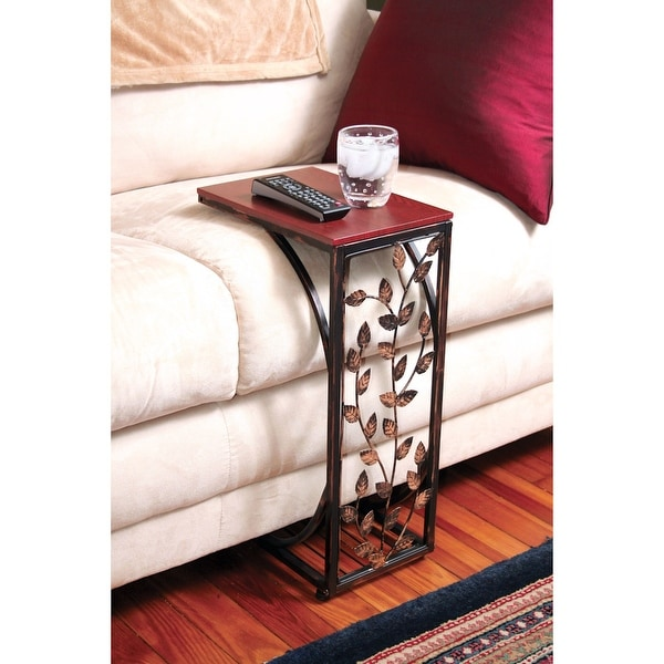 Leafside Wood Grain Top Sofa Side End Table