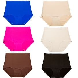 Women's 6 Pack Laser Cut High-Waisted Tummy-Control No-Show Briefs Panties