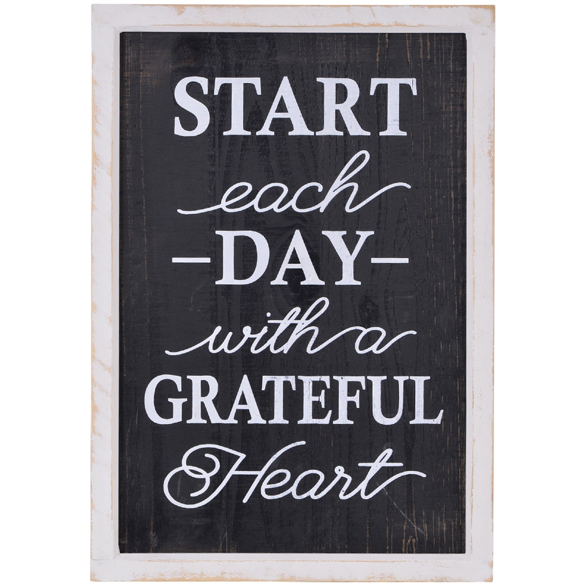 20 Black And White Start Each Day With A Grateful Heart Wall Decor Overstock 28125120
