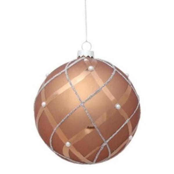 """6.75"""" Matte Satin Mousse Brown Shiny & Silver Glittered Contoured Plaid Pearl Accented Glass Pendant Christmas Ornament"""