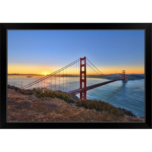 """""""Golden Gate Bridge Sunrise"""" Black Framed Print"""