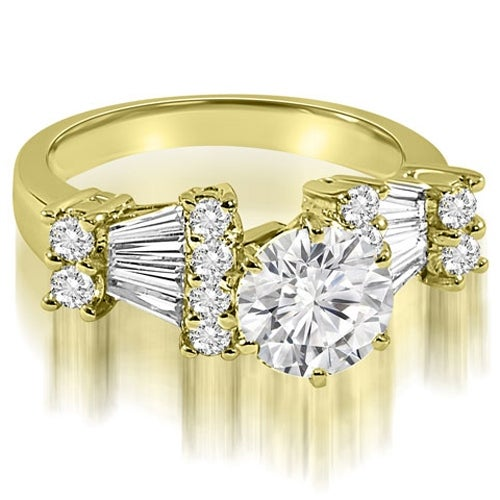 2.95 cttw. 14K Yellow Gold Round and Baguette Diamond Engagement Ring