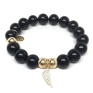 Julieta Jewelry Angel Wing Charm Black Onyx Bracelet