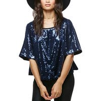 Free People Womens Casual Top Sequined Short Sleeves