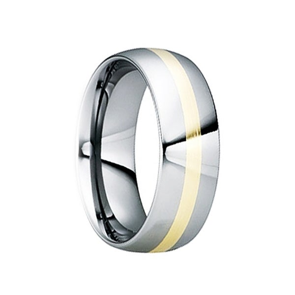EGNATIUS Tungsten Carbide Wedding Ring with 18K Yellow Gold Inlay & Polished Finish by Crown Ring - 8mm