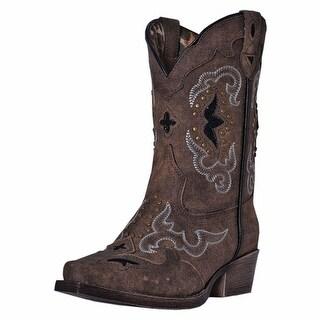 Laredo Western Boots Girls Rulay Cowboy Underlay Choc Brown LC2232