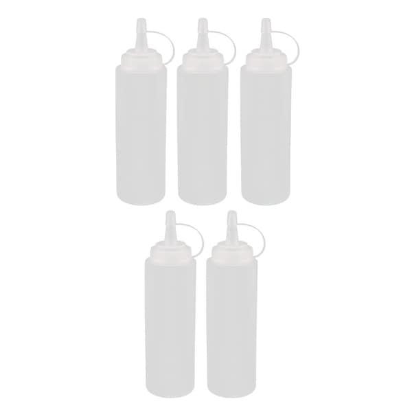5Pcs 200ml Clear Plastic Squeeze Bottles Condiment Ketchup Mustard Oil Salt