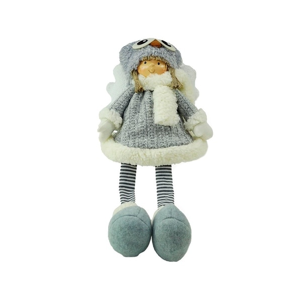 """21"""" Sitting Girl Angel with Dangling Legs and Owl Hat Christmas Decoration"""
